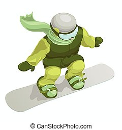 Snowboarder isolated on the white background.