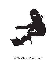 Snowboarder, isolated vector silhouette, front view. Snowboarding