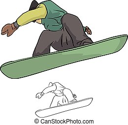 Snowboarder jumping in the air vector illustration sketch doodle hand drawn with black lines isolated on white background. Winter sport.
