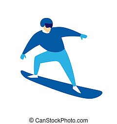 Snowboarder jumping man. Stylized illustration of winter...