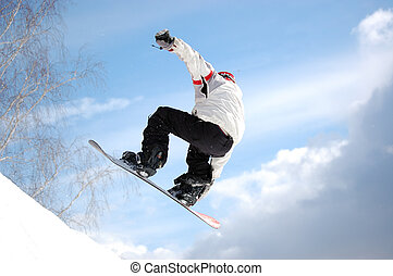snowboarder jumping on big-air, training for contest