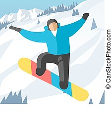 Snowboarder jumping pose on winter outdoor background....