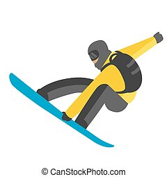 Snowboarder jumping pose on winter outdoor background -...