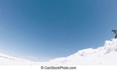 Snowboarder jumping - Snowboarder executing a radical jump...