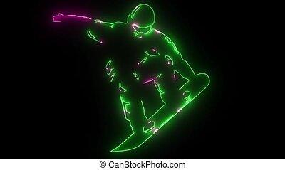 snowboarder jumping sport laser animation video -...