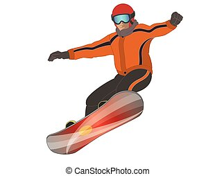 snowboarder male isolated on white background - snowboarder...