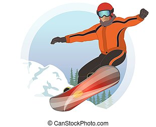 snowboarder male with snow in the background - male...