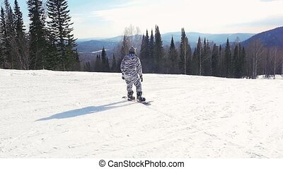 Snowboarder man in suit of kigurumi of zebra downhill rejoices and is spinning around himself in slowmotion, snow-capped mountains on the sun background. 1920x1080