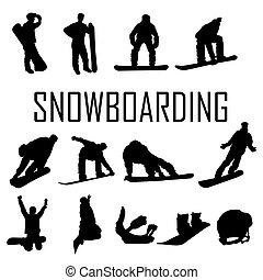 Snowboarder man vector silhouette