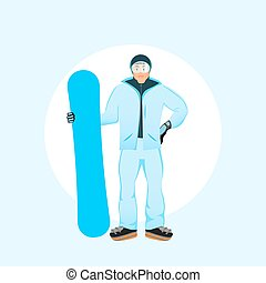 Snowboarder men standing with snowboard in winter ski sportswear and snowboard in hand. Fashion Vector flat design illustration eps 10.