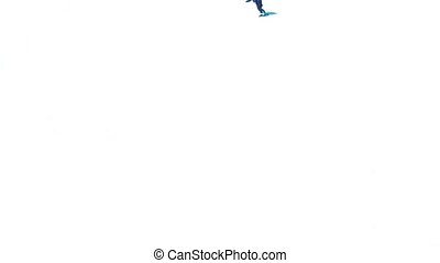 Snowboarder On Pure White Slope - Snowboarder goes down...