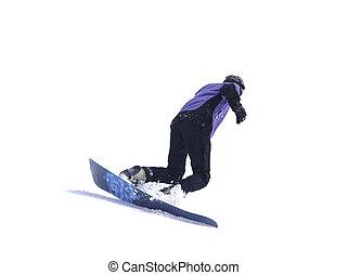 Snowboarder on white background