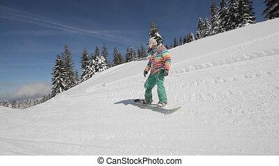 Snowboarder performs tricks