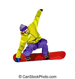 Snowboarder - Polygonal icon of active man on snowboard...