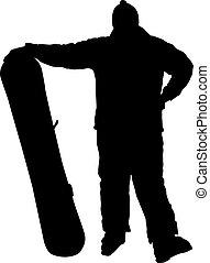 Snowboarder   - Posing beginner. Vector