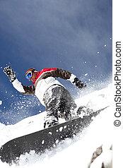 snowboarder, rociar, polvo