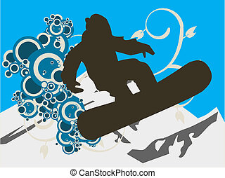 Snowboarder silhouette with mountain and swirls on...