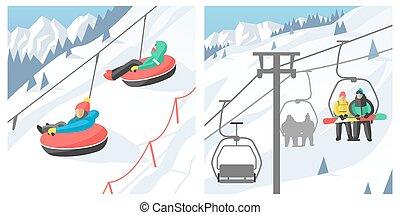 Snowboarder sitting in ski gondola and lift elevators winter sport resort snowboard people rest lifting jump vector illustration mountain