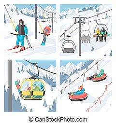 Snowboarder sitting in ski gondola and lift elevators. ...