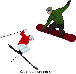 snowboarder, skier