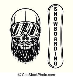 Snowboarder skull in ski glasses and deck elements