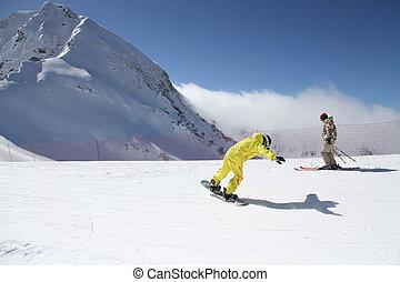 snowboarder, slope.