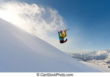 snowboarder, sneeuw, tik, verwaarlozing, springt, voorkant,...