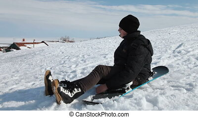 Snowboarder - snowboarder on a mountain slope