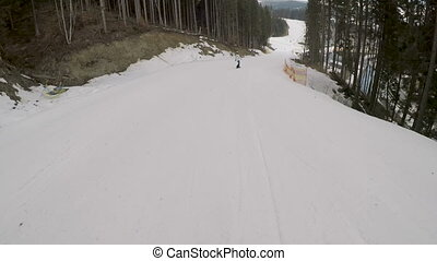 snowboarder snowboarding on slopes in ski resort. -...