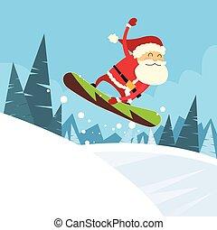 snowboarder, unten, santa klausel, hügel, schieben