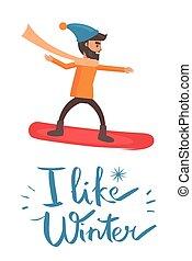snowboarder, vector, como, ilustración, invierno