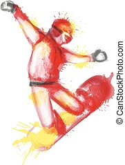 Snowboarder watercolor illustration