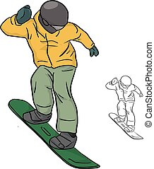 Snowboarder with yellow jacket and helmet vector illustration sketch doodle hand drawn with black lines isolated on white background