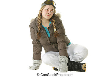 Snowboarder woman sitting on white