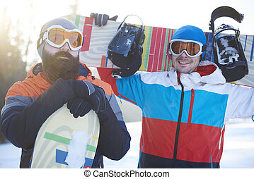 snowboarders, cima, macho, cintura, dois
