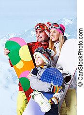 snowboarders, família