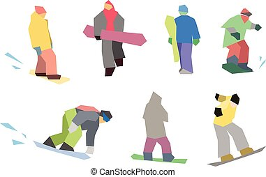 snowboarders flat set