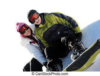 snowboarders, heureux