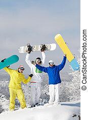 snowboarders, joyeux