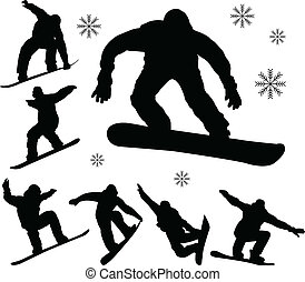 Snowboarders silhouettes - vector