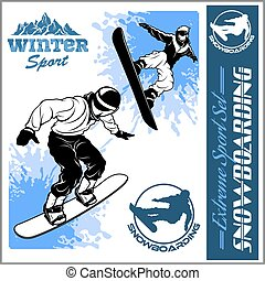snowboarders, -, vektor, set., vektor, illustration.