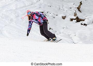 snowboarding, 女, piste, 冬