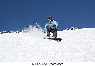 snowboarding, 山, 雪が多い