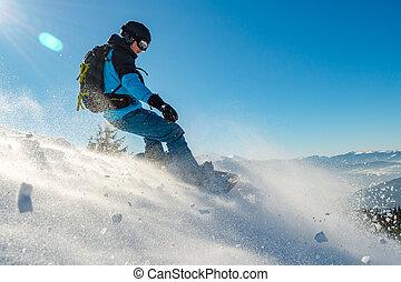 snowboarding, 운동회, 산, s노wb오아rd어r, 구, snowboard, 빨강, 겨울, day., 명란한