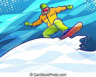 Snowboarding Action - Snow boarder making an extreme jump