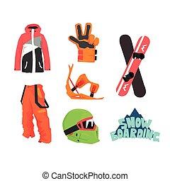 snowboarding, ausrüstung, sammlung