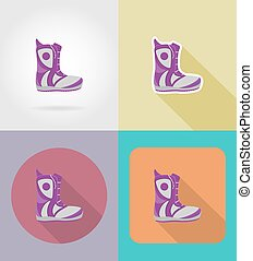 snowboarding boots flat icons vector illustration