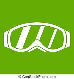snowboarding, brille, grün, ikone