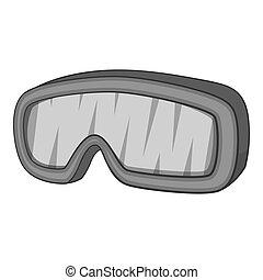 snowboarding, brille, ikone