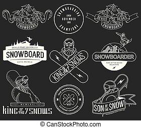 snowboarding, bw, insignes, paquet, icônes